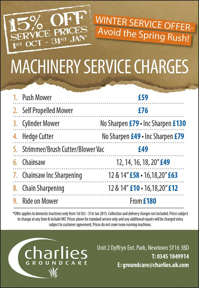 DON'T MISS 15% OFF MACHINERY SERVICES