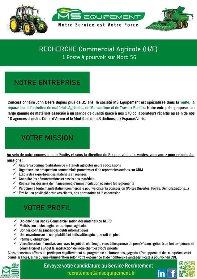 MS EQUIPEMENT recrute commercial agricole 56