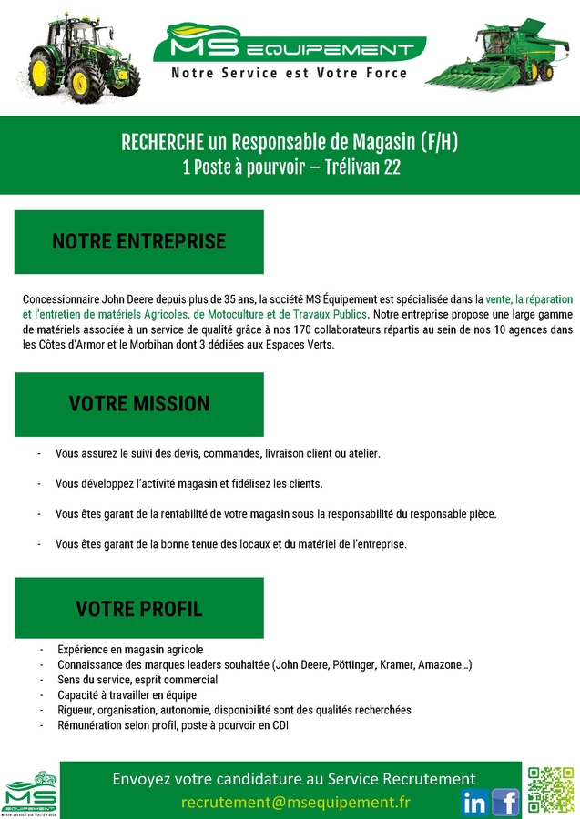 MSE recrute responsable magasin