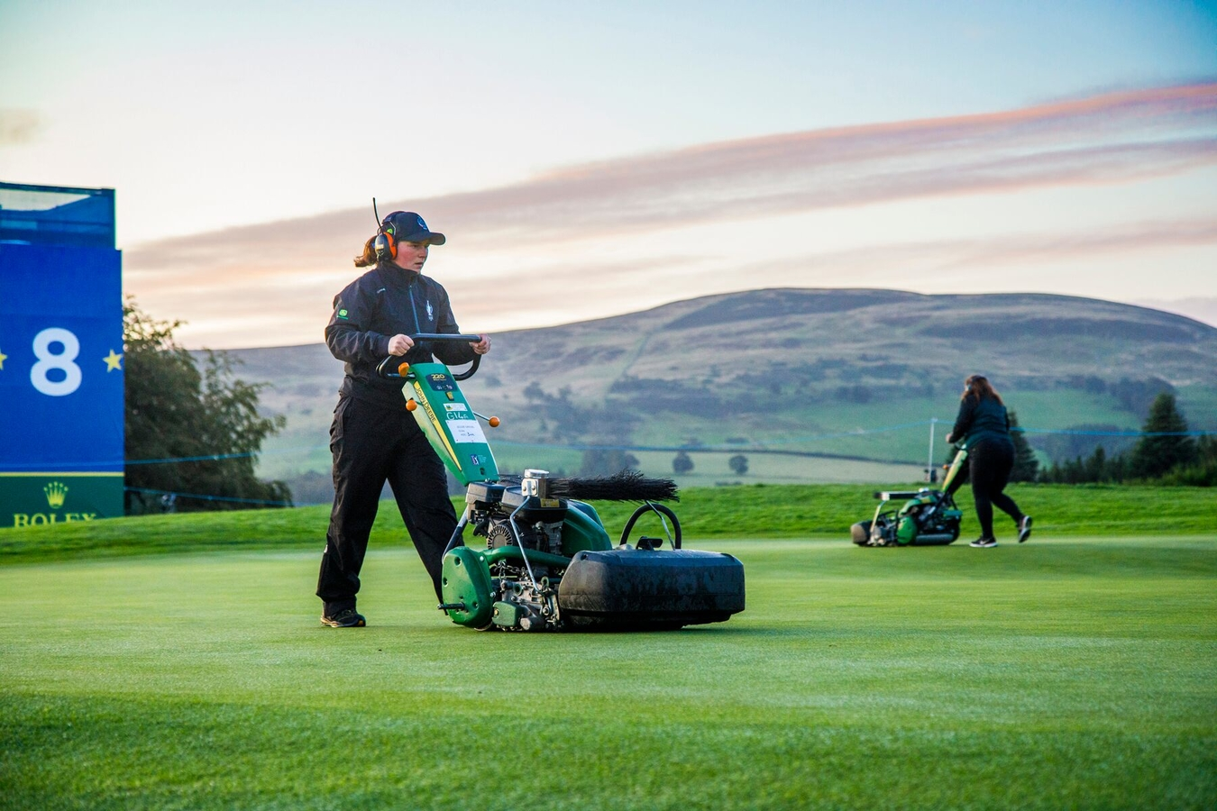 John Deere equipment at work on The PGA Centenary Course during the 2019 Solheim Cup at Gleneagles in Scotland