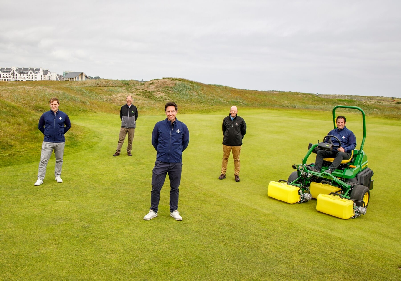 Adair Simpson of Carnoustie, Richard Charleton of John Deere, Michael Wells, dealer Sandy Armit of Double A and Links Superintendent Craig Boath.