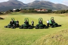 Richard Charleton of John Deere, Links Manager Eamonn Crawford & Ricky Neill of Johnston Gilpin with some of the Royal County Down greenkeeping team.