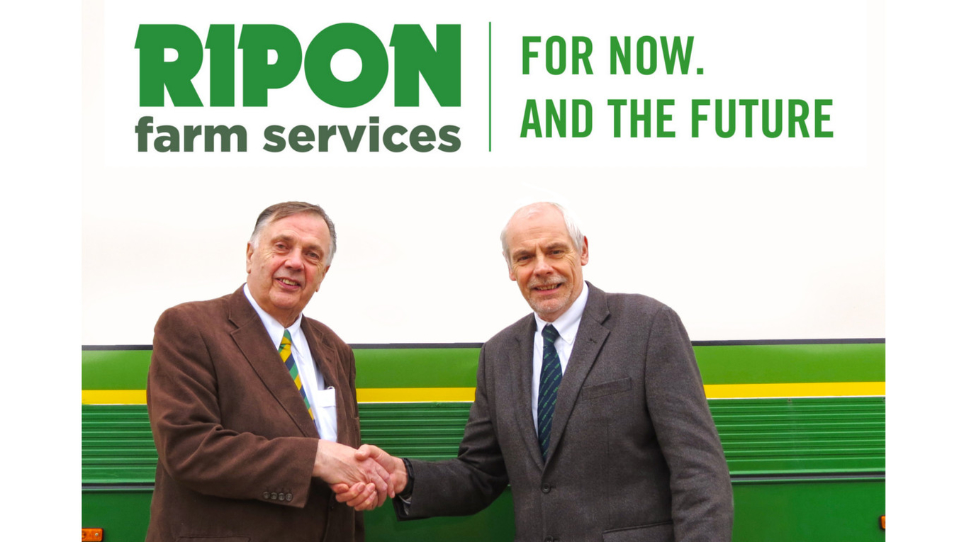 Geoff Brown, managing director of Ripon Farm Services (left) with Adrian Denner, managing director of RBM Agricultural.