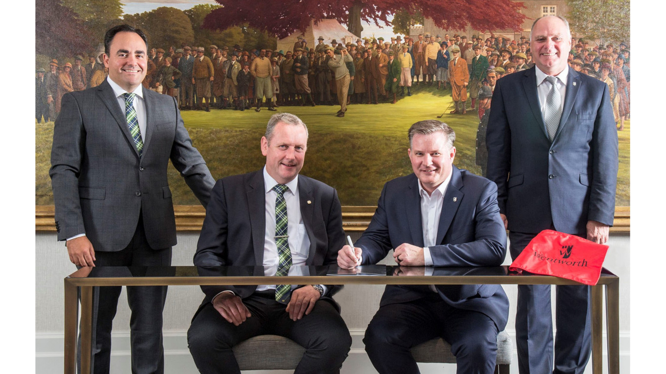 (Left to right) Carlos Aragones, John Deere Limited Managing Director Jonathan Henry, Wentworth Club General Manager Neil Coulson and Kenny Mackay.