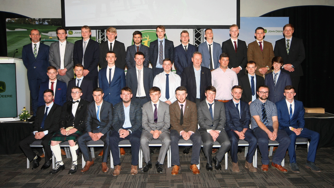 John Deere's 2018 Ag and Turf Tech graduate apprentices with Allan Cochran and Jonathan Henry at the presentation ceremony in April.