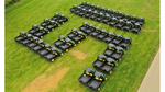 A drone shot of the new 51-strong John Deere Gator fleet taken at dealer Farol's Milton Common headquarters.