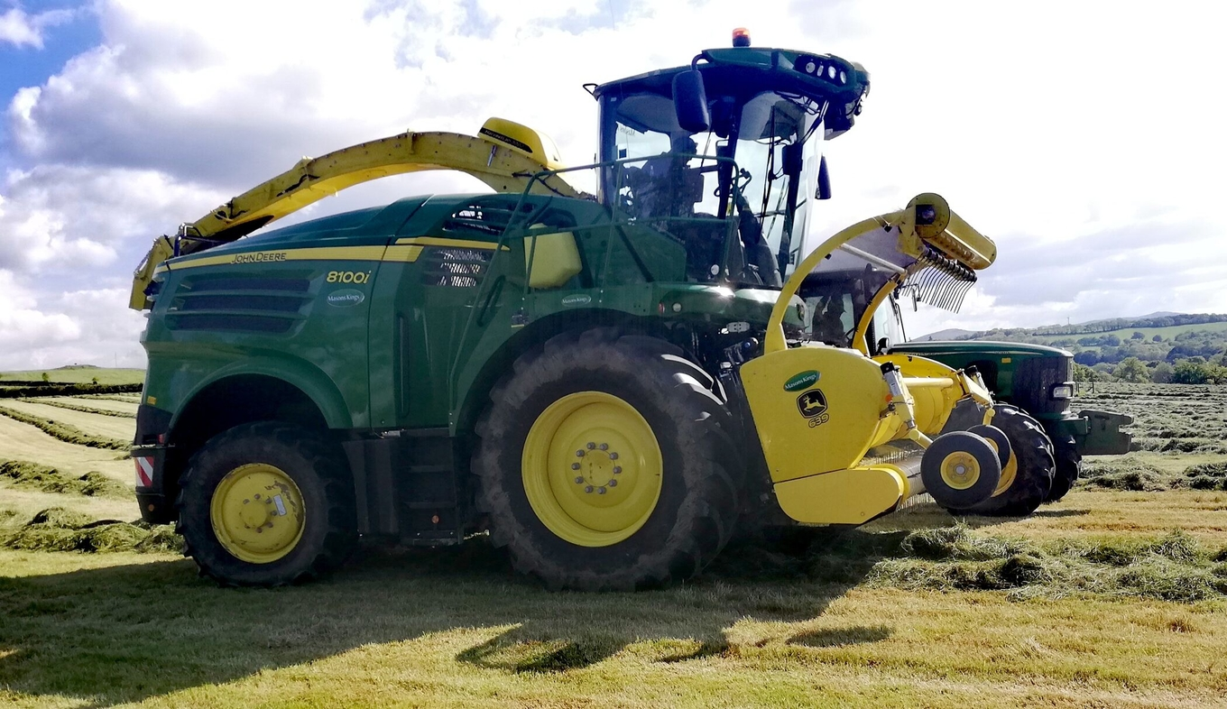 The John Deere 8100i self-propelled forager with HarvestLab constituent sensing, supplied by Masons Kings for the 2019 ADAS Grass YEN harvest trials.