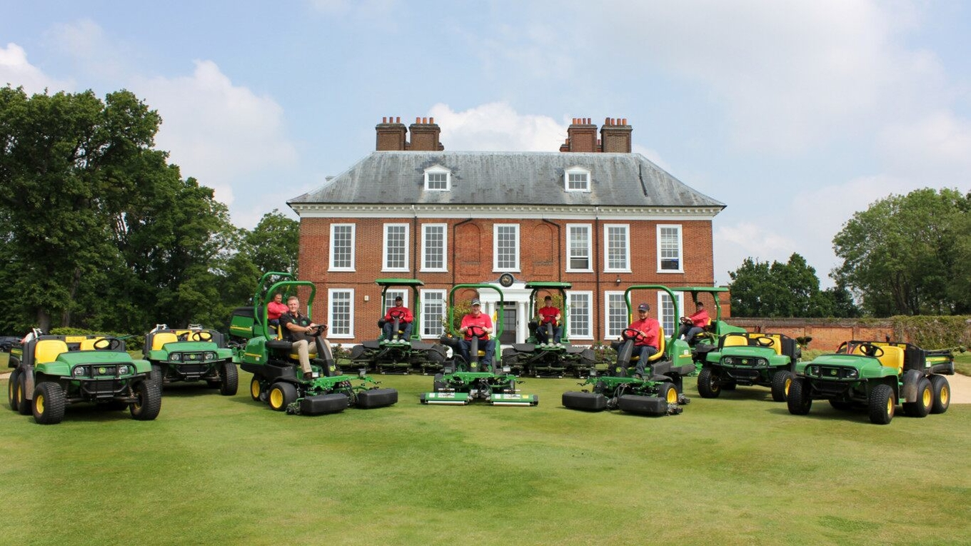 Royal Blackheath golf course manager Allen Blizzard (front centre) with Dave Searles of dealer Farol (front left) and the club's greens staff