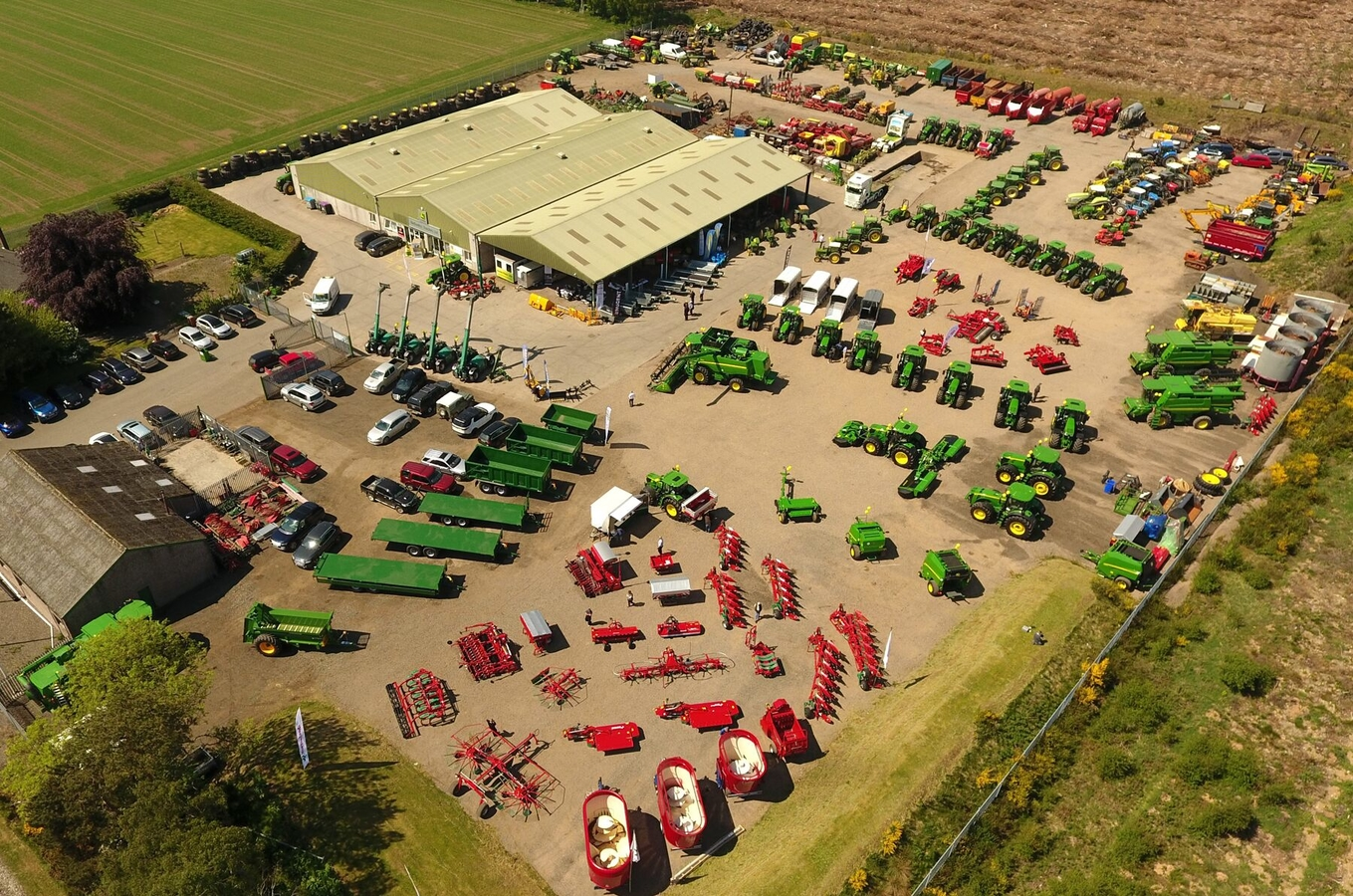 An aerial view of the Netherton Tractors outlet at Forfar in Angus.