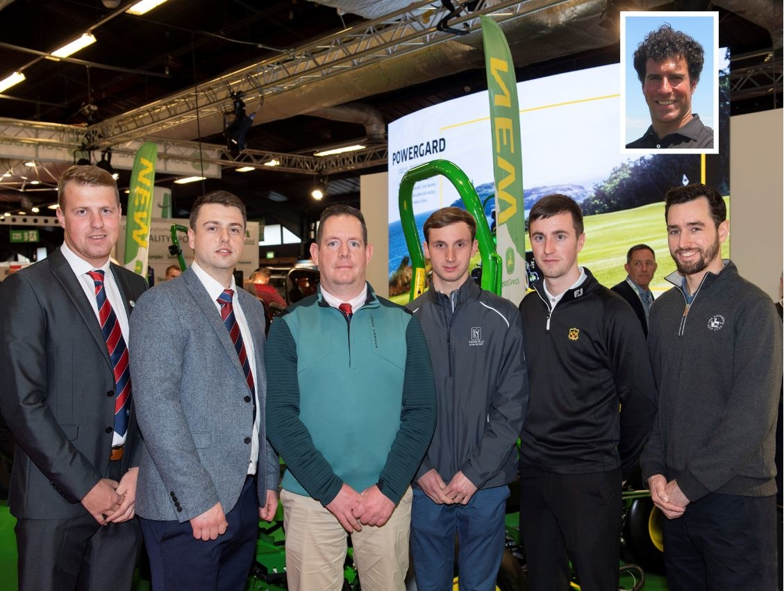 BIGGA & GCSAI volunteers (left to right) Eddie Irvine, Alex Brougham, Mark Tucker, Peter Lewis, Dean O'Connell, Ben Hunter & (inset) Yannick Weber.