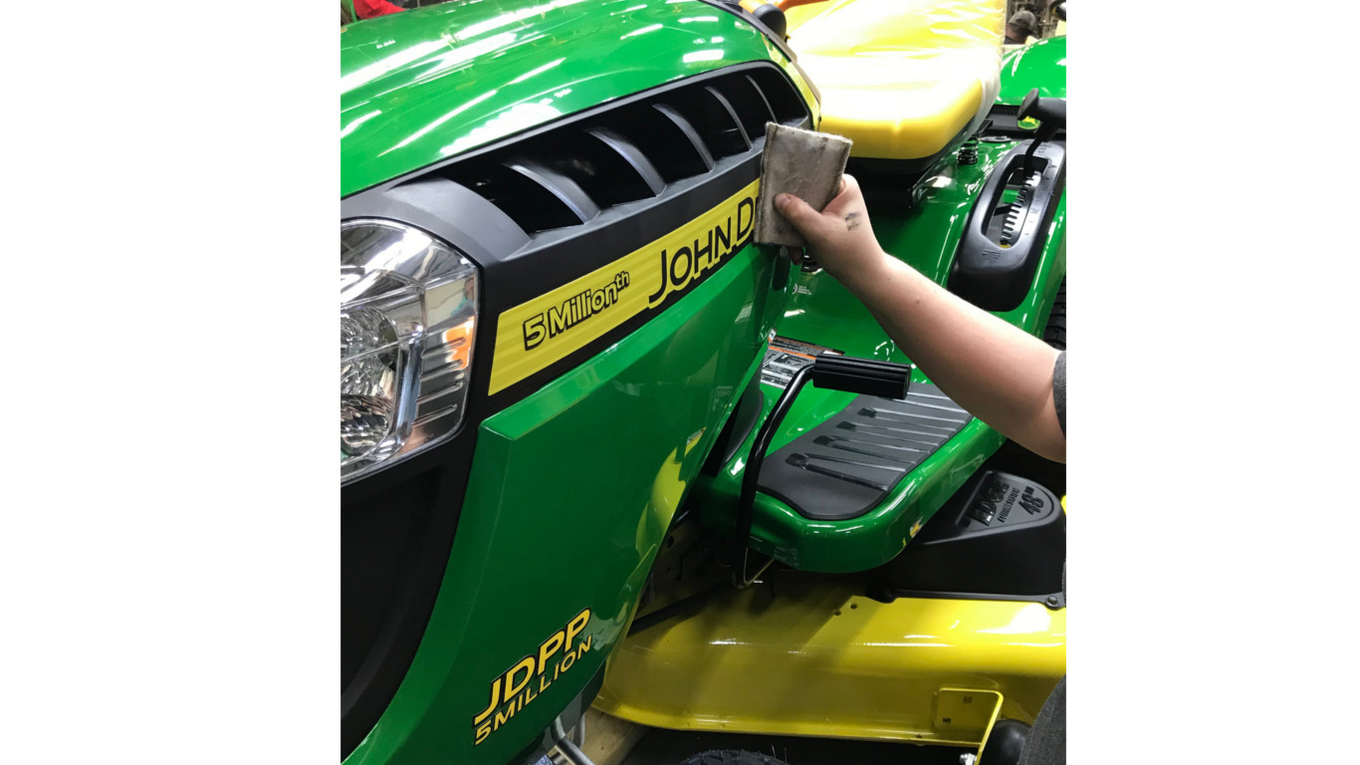 John Deere Power Products recently produced its five millionth machine, a 22hp E140 lawn tractor, at the US factory in Greeneville, TN.