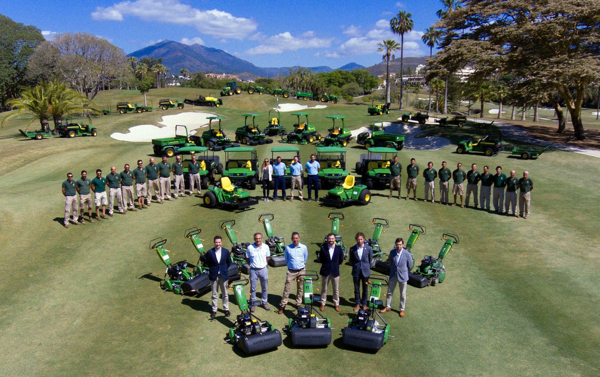 Real Club de Golf Las Brisas and John Deere staff with the new John Deere course maintenance equipment fleet.