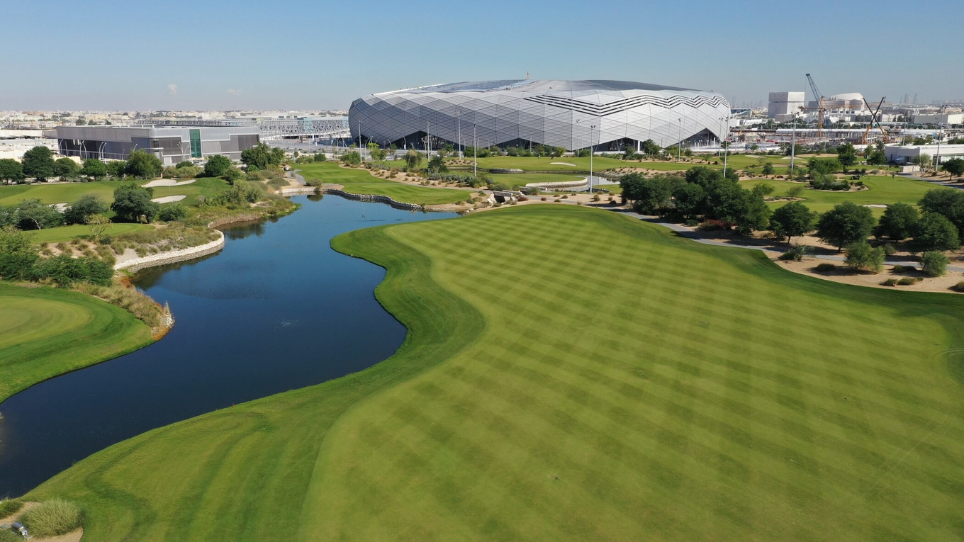 A view over the Education City golf course, with the 2022 FIFA World Cup Education City Stadium in the background.