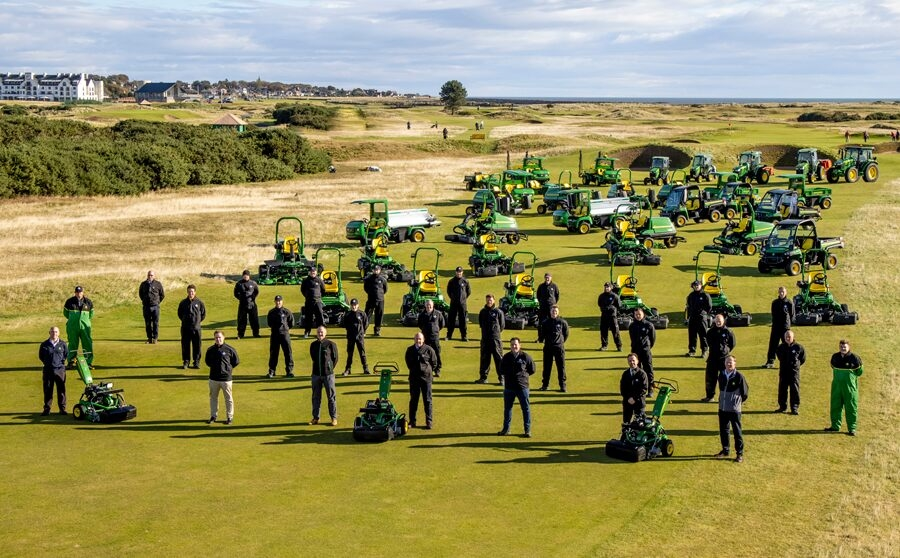 Carnoustie Golf Links, Rain Bird, John Deere & dealer Double A staff with some of the new machinery fleet on The Championship Course's 14th fairway.