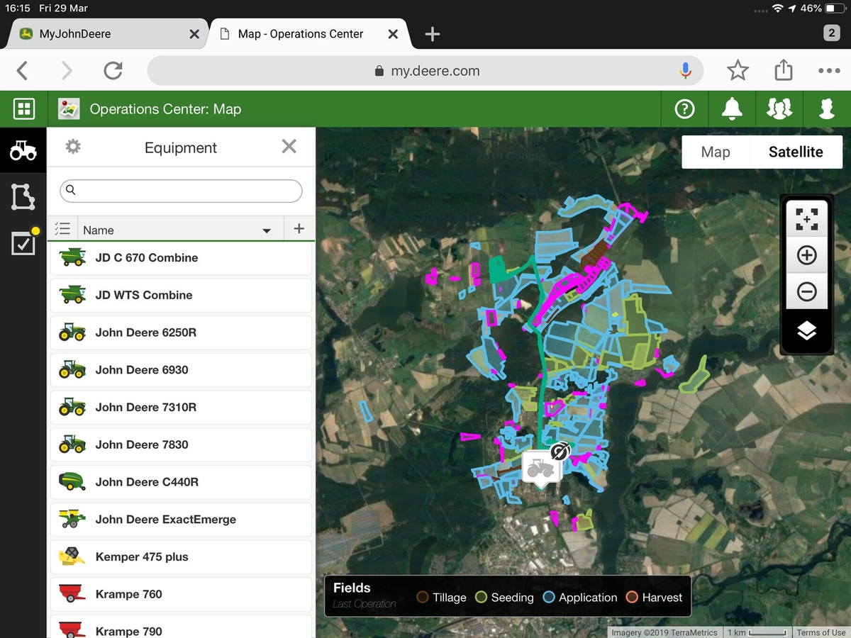A screen shot of the Operations Centre mapping page in MyJohnDeere.com.