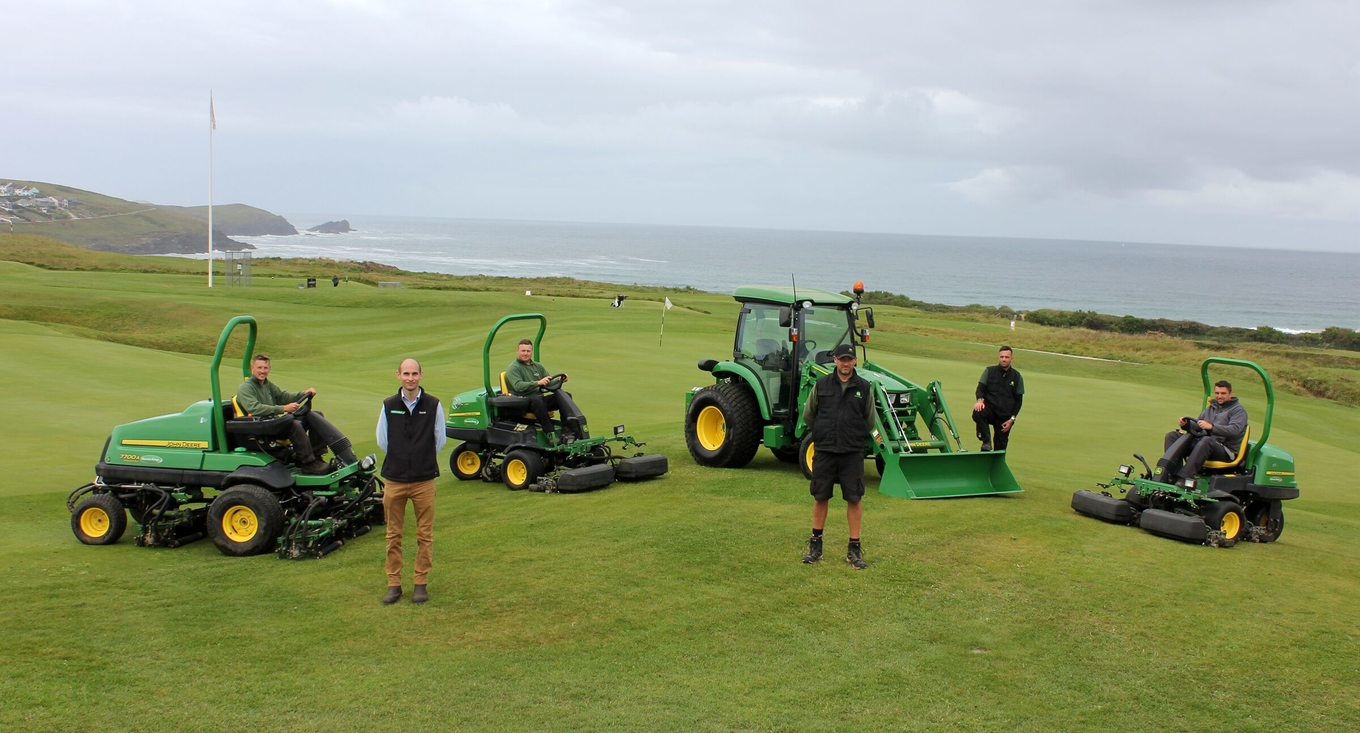 David Barnes and Dan Kendle with (rear left to right) Joe Ibbs-George, Carl Phillips, deputy head greenkeeper Scott Paterson and Tom Bunt.