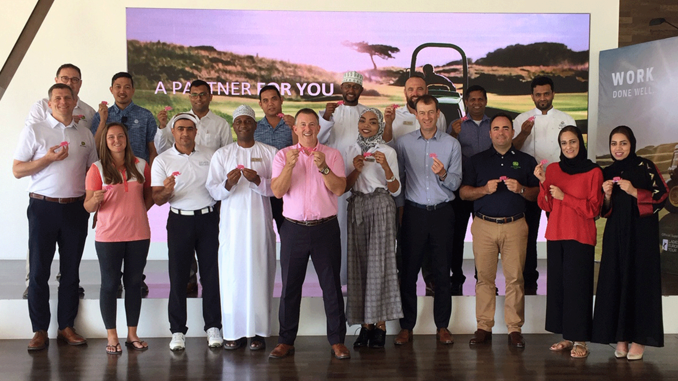 Bill McFarlan (front centre), Carlos Aragones of John Deere (front, third right) and delegates at one of the first CMAE MENA club education seminars.