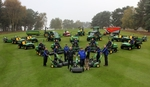 Enville course manager Andy Wood (front right with Leo), dealer Jacob Shellis of Farol and the greenkeeping team with the club's new equipment fleet.